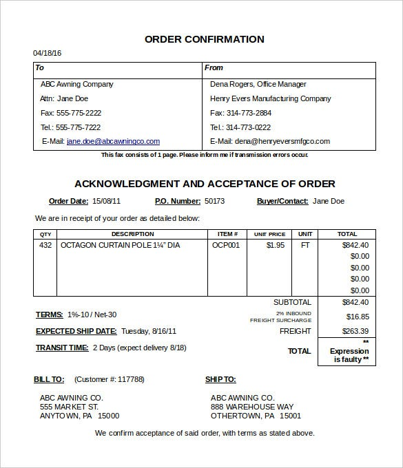 Order Confirmation Template Free Word Excel PDF Document - Making an invoice in excel big and tall stores online