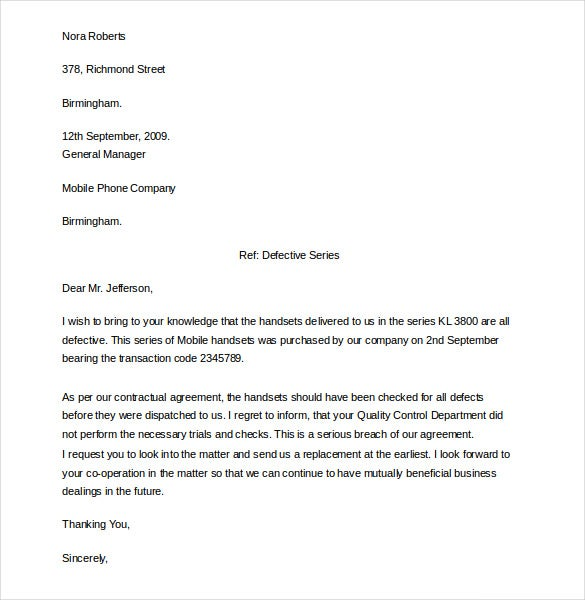 example formal business complaint letter