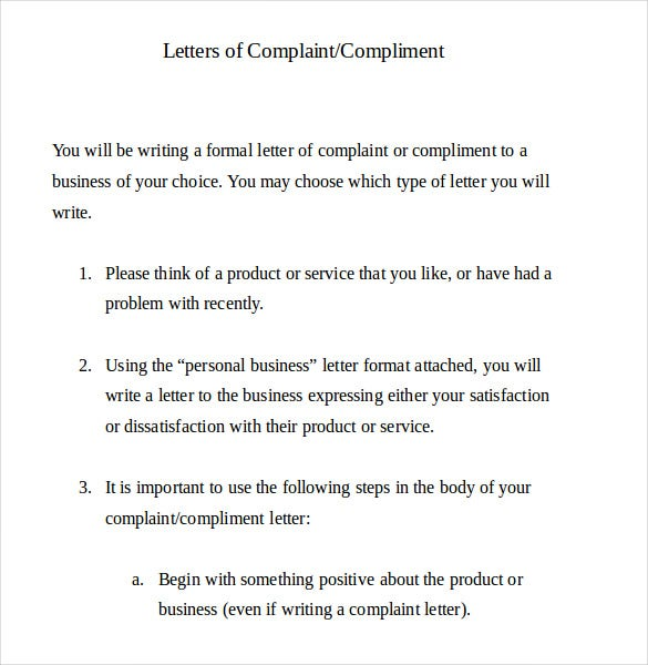 example formal letter of complaint document template