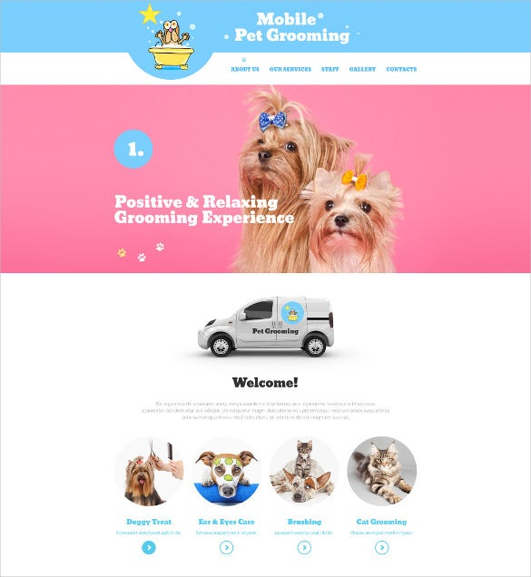 animal pet grooming html5 website template