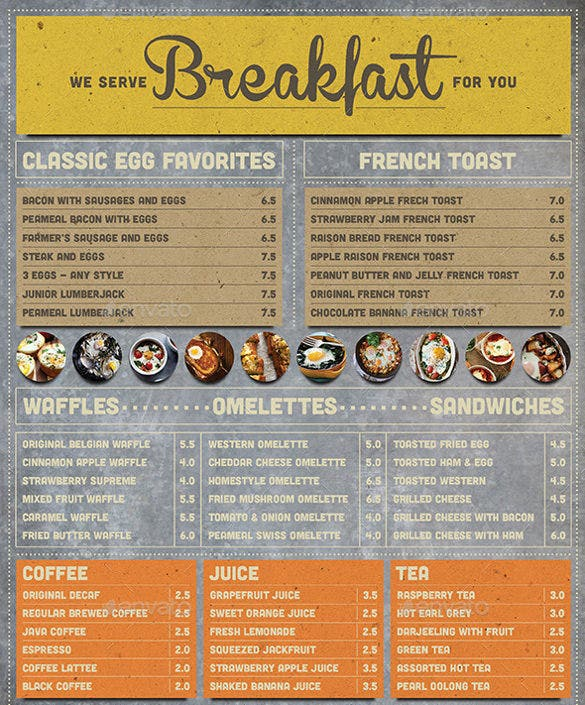 rustic breakfast menu vector eps format download