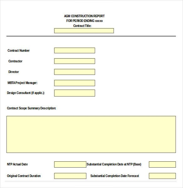 14 Construction Order Templates Free Sample Example Format – Contract Summary Template