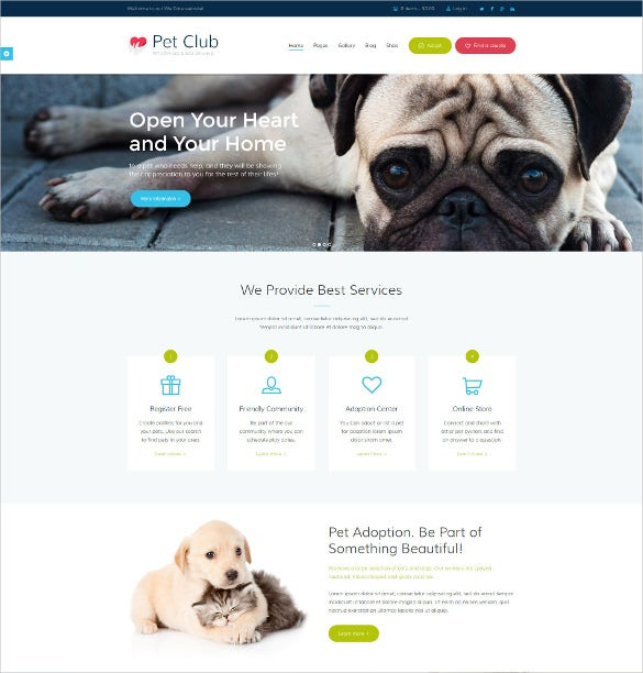animal pet club community html5 theme