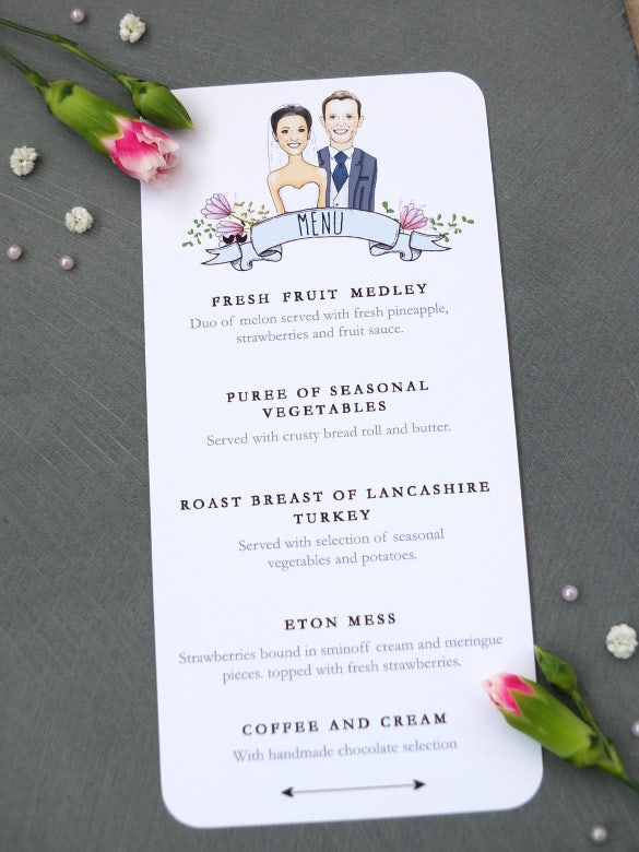 sample caricature wedding breakfast menu template