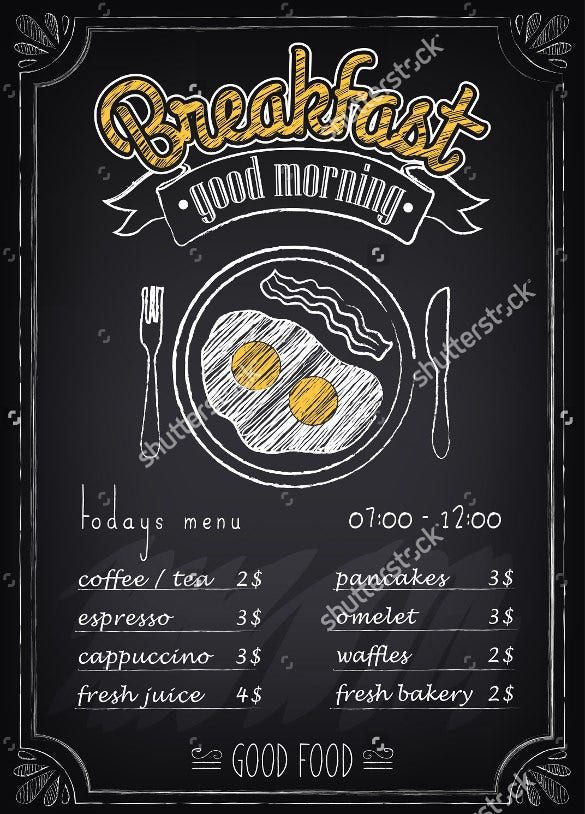 Breakfast Menu Templates  Free Sample Example Format Download
