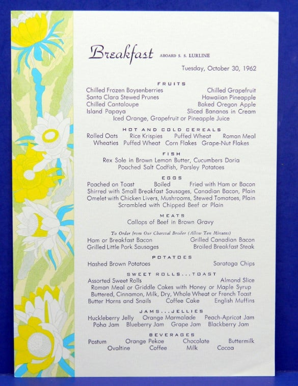 Exceptional Example Breakfast Menu Template Download  Breakfast Menu Template