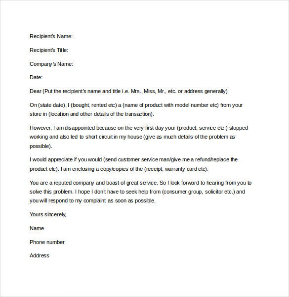 sample complaint letter template free download