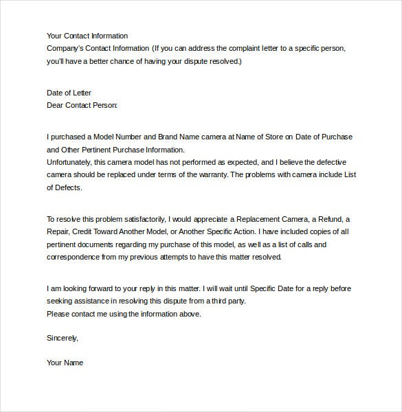 12 letter of complaint templates free sample example format example complaint letter about electronics free download spiritdancerdesigns Images