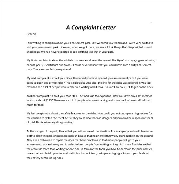 Letter Of Complaint Sample  BesikEightyCo