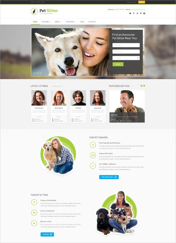 responsive animal pet html5 css3 template