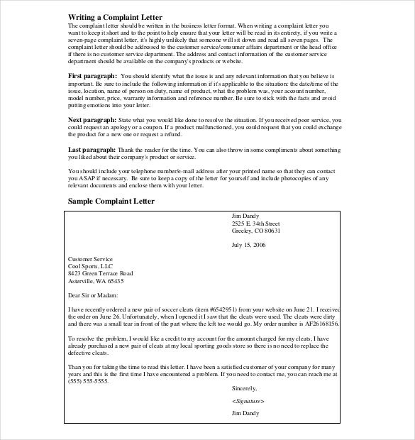 12 Letter Of Complaint Templates Free Sample Example Format