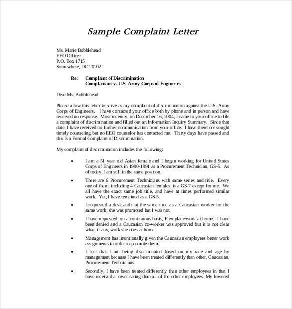 19 letter of complaint templates doc pdf free for Formal letter of complaint to employer template