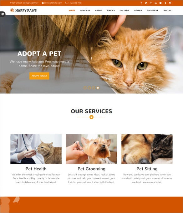 animal pet responsive one page html template