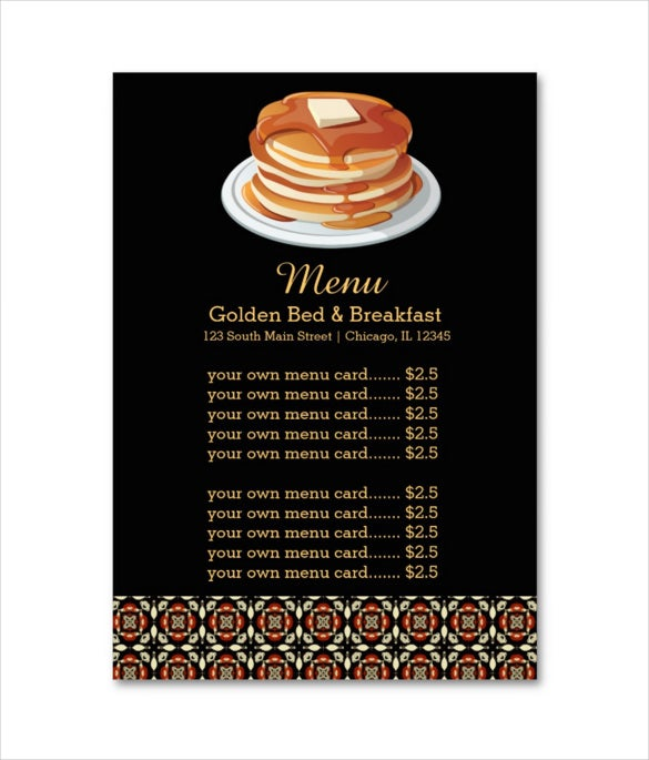 menu breakfast card template sample download
