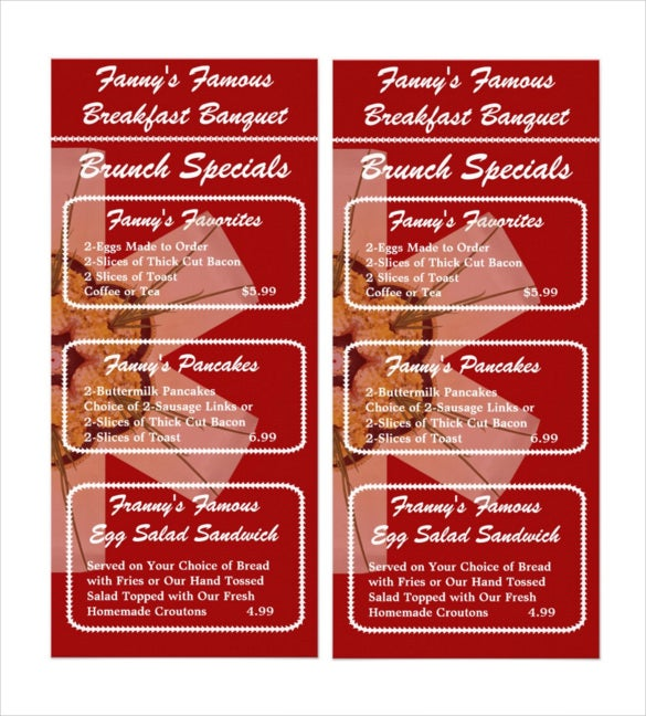 breakfast banquet brunch menu template sample download