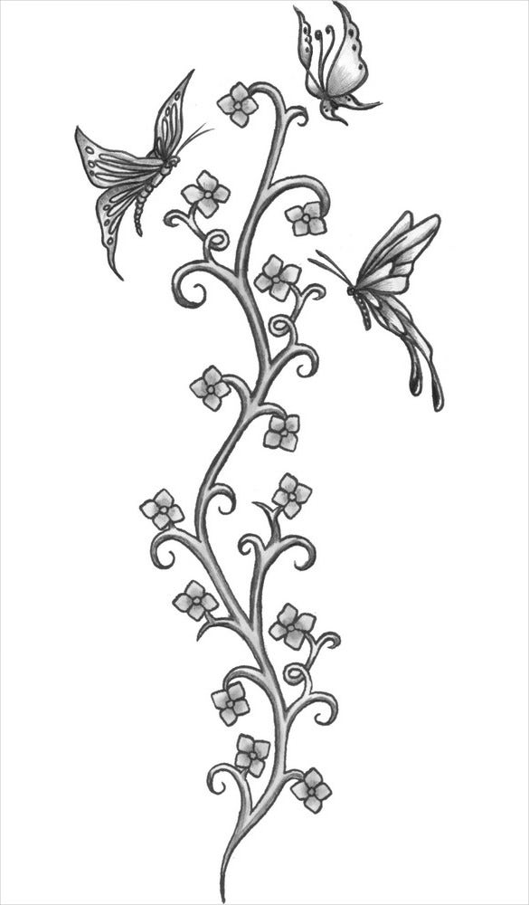 flower plant tatoo drawing download