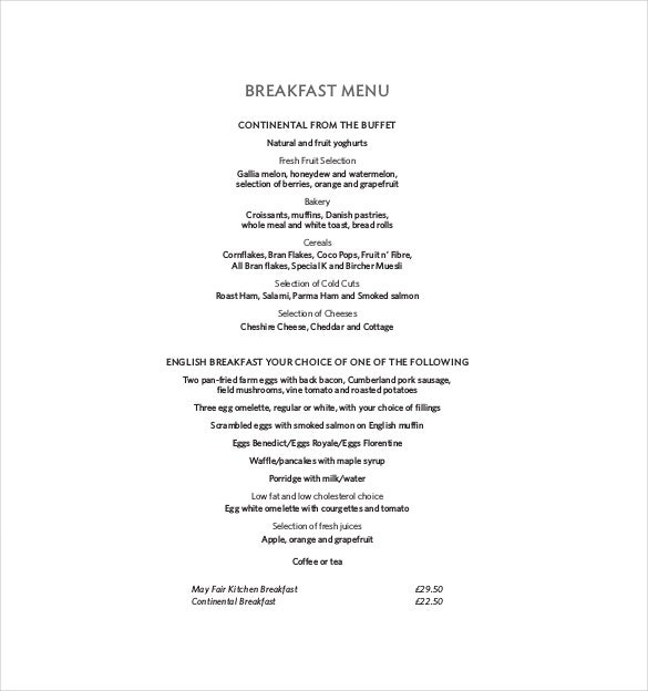 breakfast menu free pdf format download