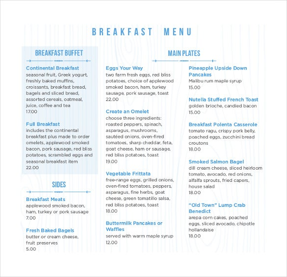 free pdf format of breakfast menu download
