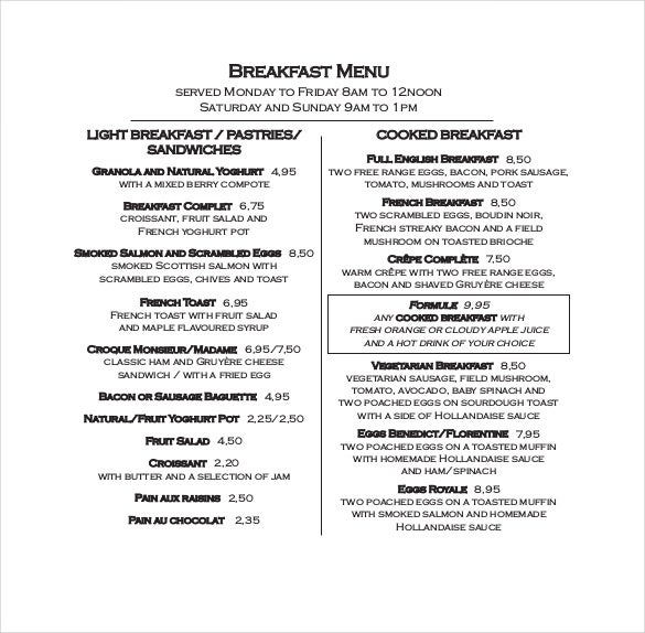 pdf format of cote breakfast menu free download