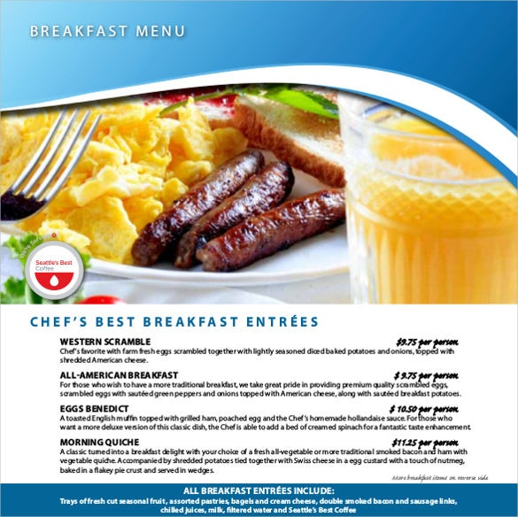 menu for breakfast free pdf format downlaod