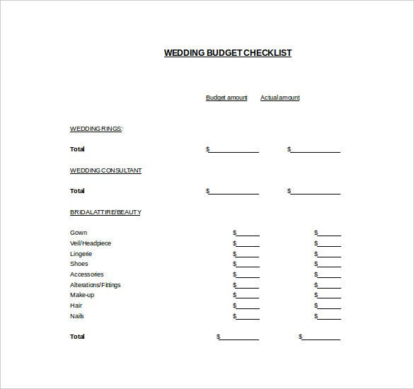 wedding budget checklist template for free download
