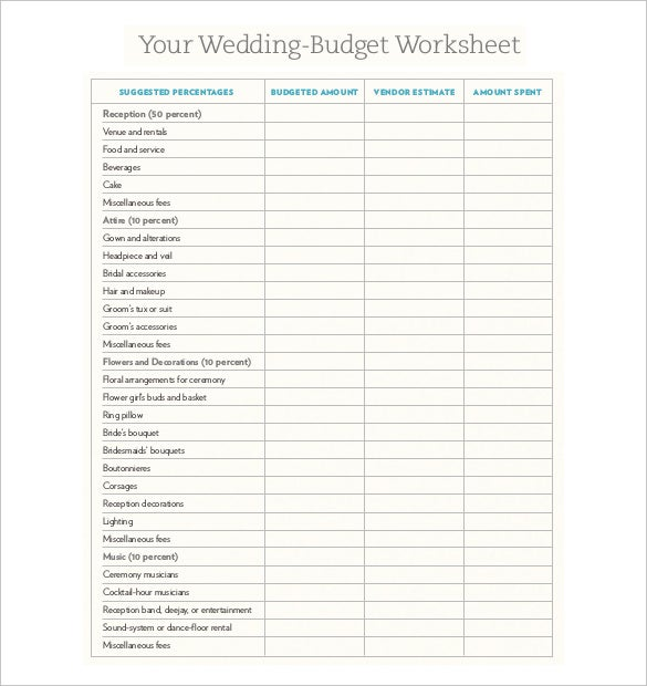 Nice Easy To Print Wedding Budget Worksheet For Download