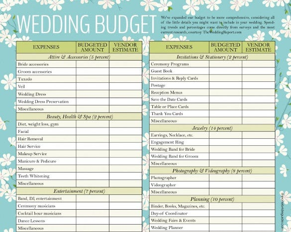 Designed Wedding Budget Template For