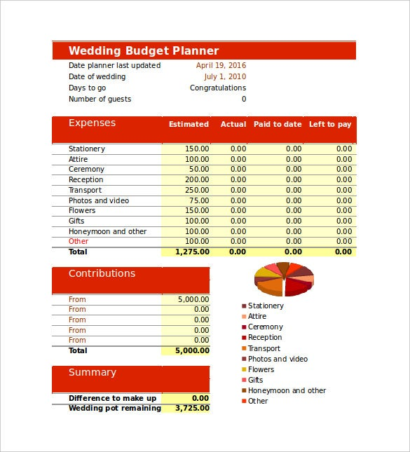 print ready wedding budget template for download