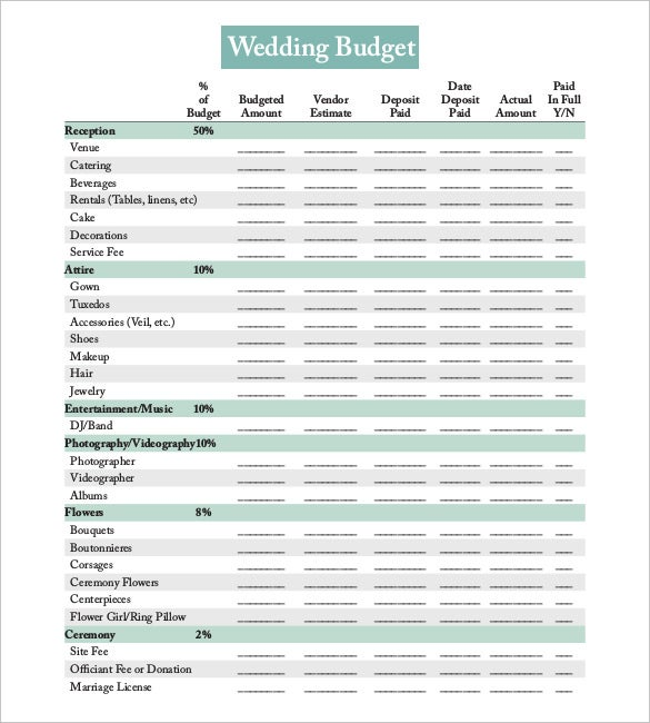 prinatble wedding budget template for download
