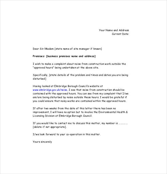 noise complaint letter templates sample example  elmbridge gov uk this sample letter it is easy to make a complaint to a construction site management about the excess noise emanating from