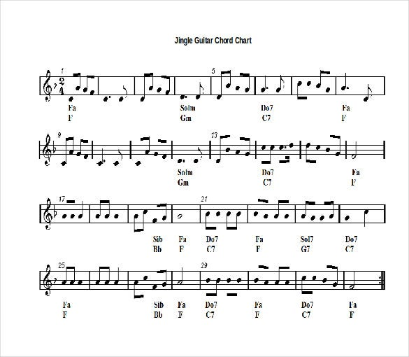 jingle guitar chord chart