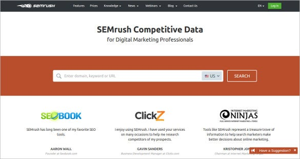 semrush competitive data content analysis tool
