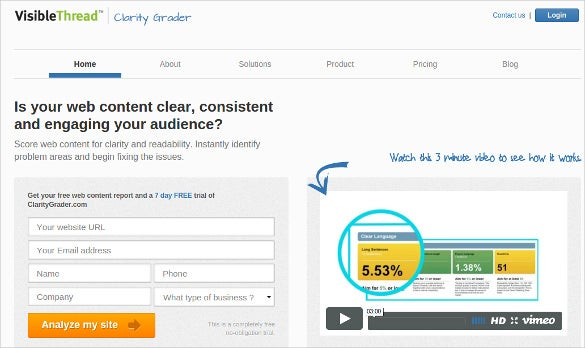 clarity grader content analysis tool