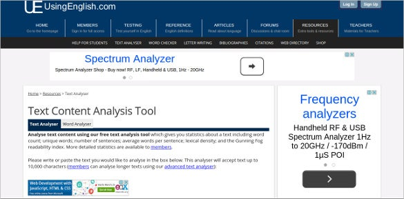 using english text content analysis tool