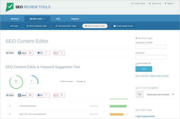 free seo review content editor tool