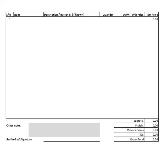 blank purchase order template free download