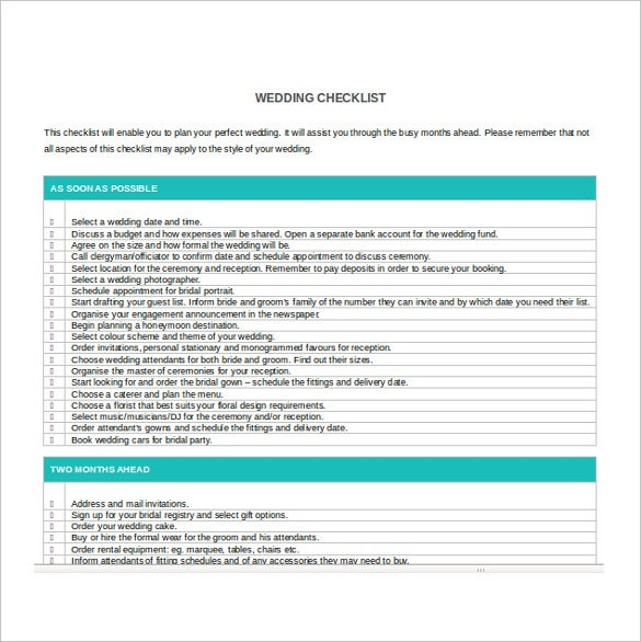 Wedding Checklist Template  Free Excel Documents Download  Free