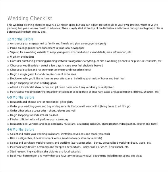 ready to print wedding checklist template for free download