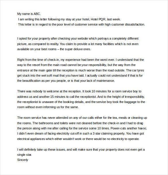 bad service customer complaint letter template1