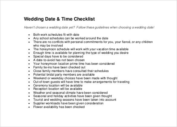 designed wedding checklist template for free download
