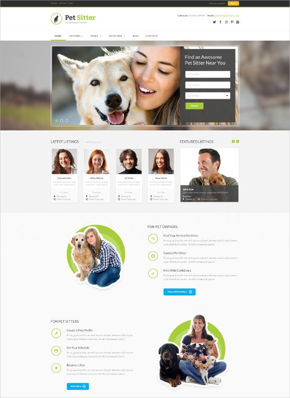 animal pet responsive html5 css3 bootstrap template