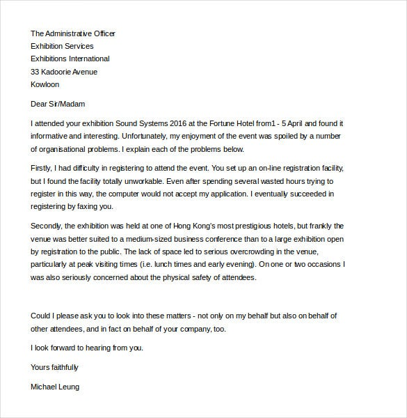 Customer complaint letter template 11 free sample example elcpolyu this example letter template can be used to make a formal complaint to the management about challenges and disappointments experienced at spiritdancerdesigns