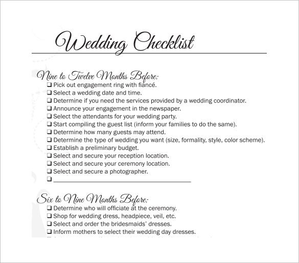 Wedding checklist template 20 free excel documents download professional wedding checklist template for download junglespirit Gallery