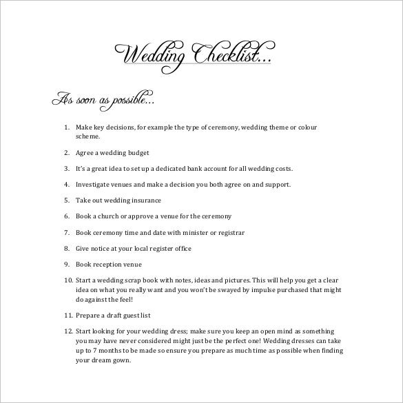 corporate wedding checklist template free download