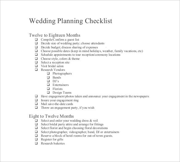 wedding checklist template for free download