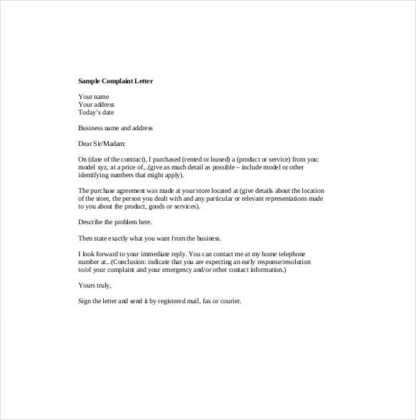 business complaint letter us customer complaint letter template 11 sample example