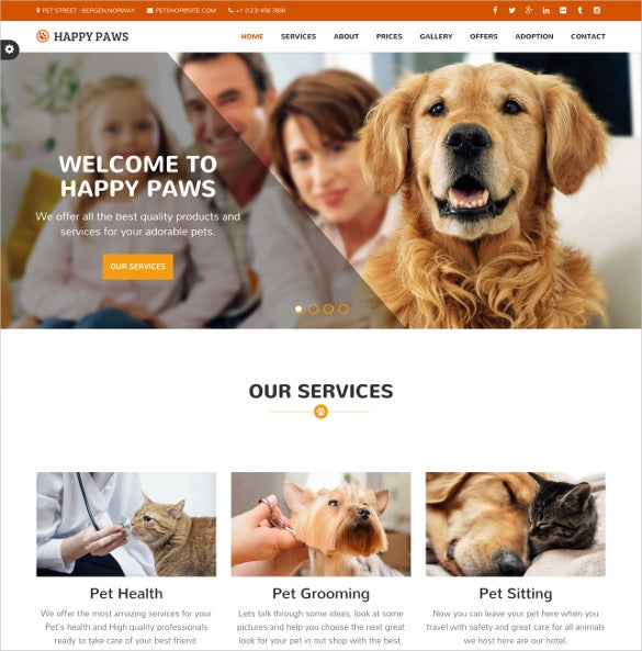 animal pet responsive one page html bootstrap theme