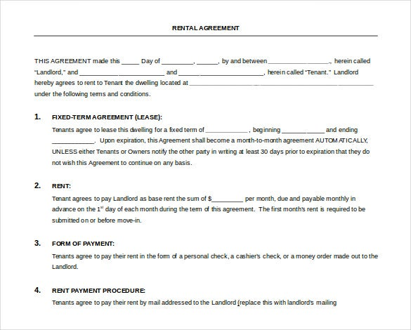free download bank rental agreement word format