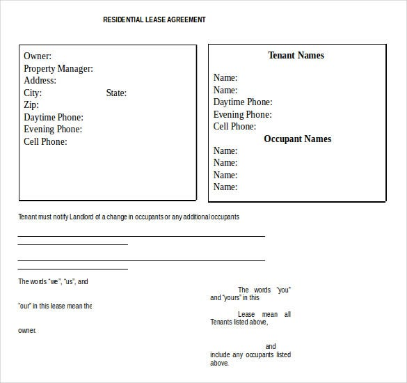 residential lease agreement template free word download