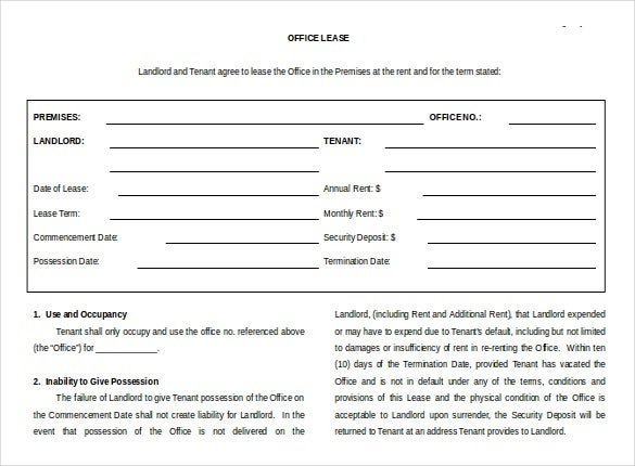 office rental agreement free word template
